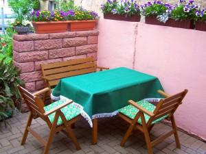 Terrasse | Ferienwohnung Blick aufs Alte Rathaus am Europa-Park Rust